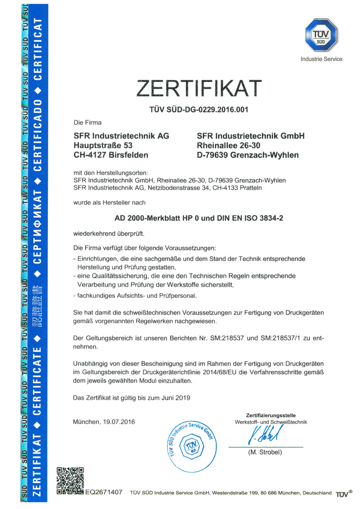 Zertifikat nach AD 2000 HP 0 und ISO  3834-2