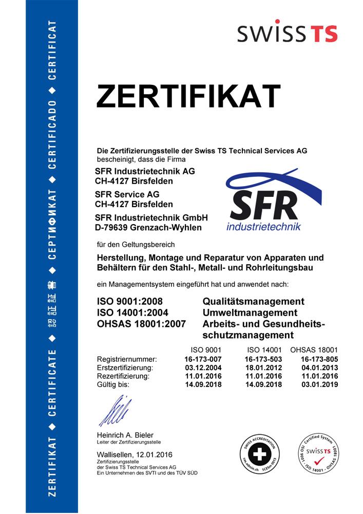 Zertifikat nach ISO 9001 : 2008, ISO 14001 : 2004 und OHSAS 18001 : 2007