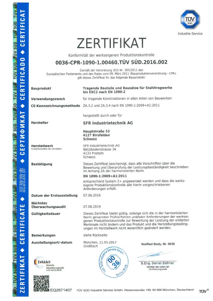<br>Zertifikat nach EN 1090-1 EXC2