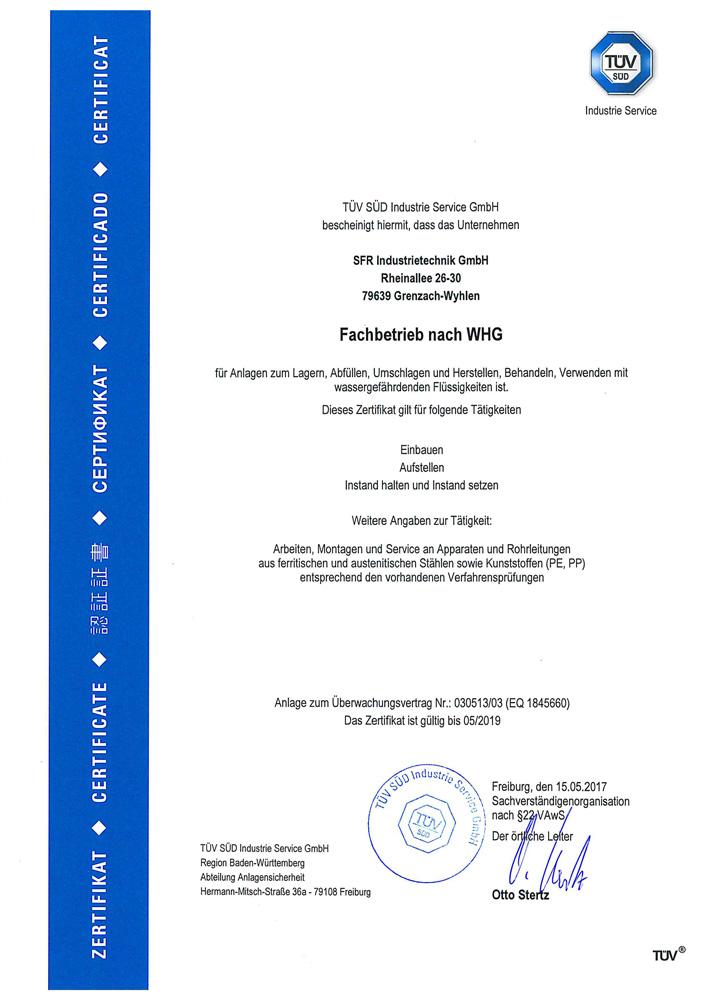 Zertifikat nach<br> §19 WHG